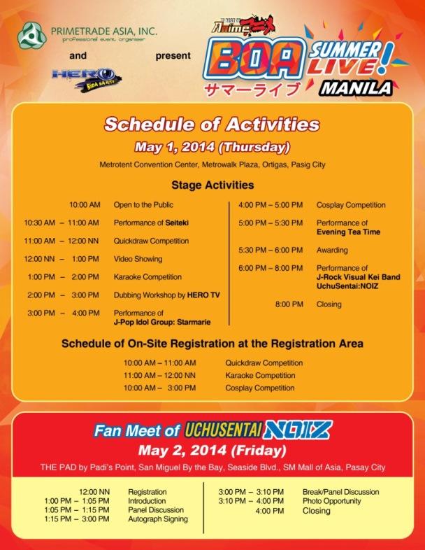 BOA Summer Live MANILA_Schedule of Activities copy
